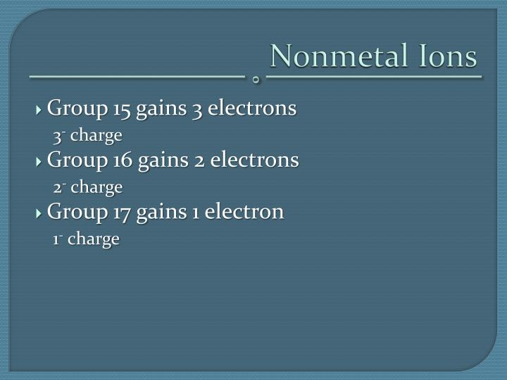Nonmetal Ions