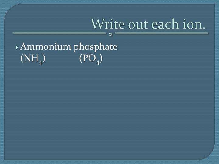 Write out each ion.