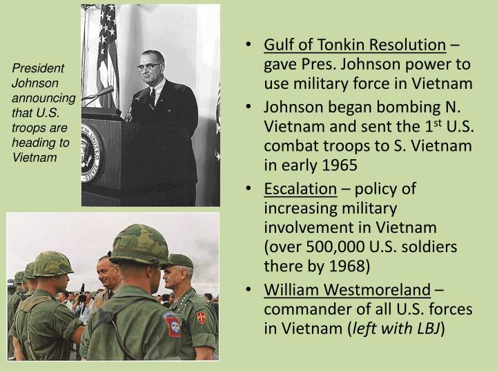 President Johnson announcing that U.S. troops are heading to Vietnam