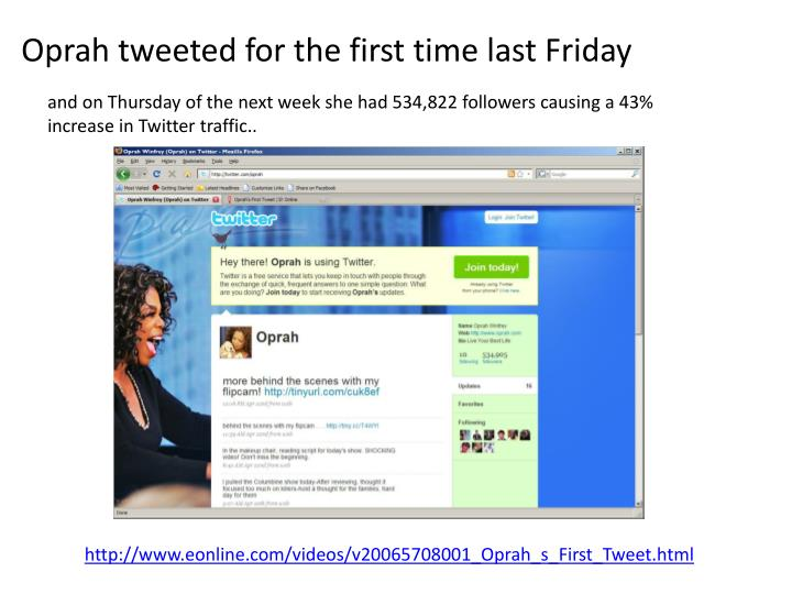 Oprah tweeted for the first time last Friday