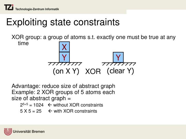 Exploiting state constraints