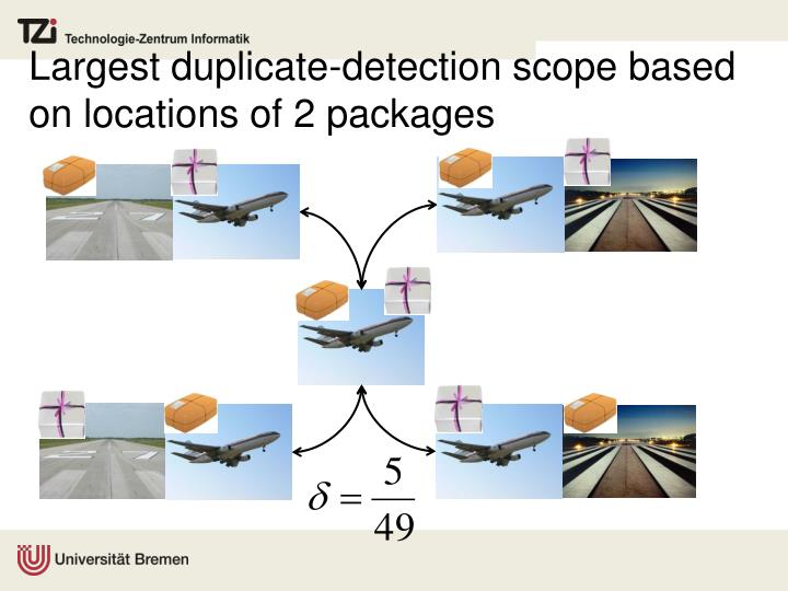 Largest duplicate-detection scope based on locations of 2 packages