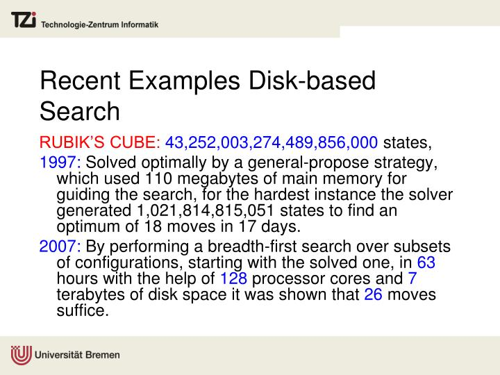 Recent examples disk based search