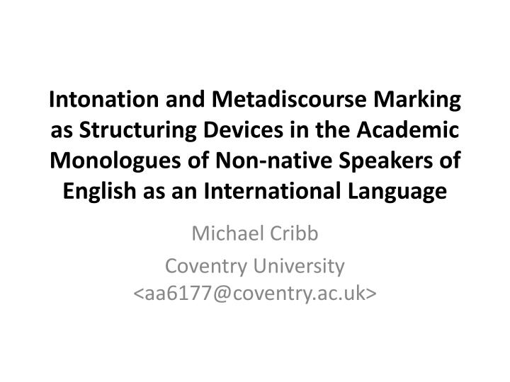 Michael cribb coventry university aa6177@coventry ac uk
