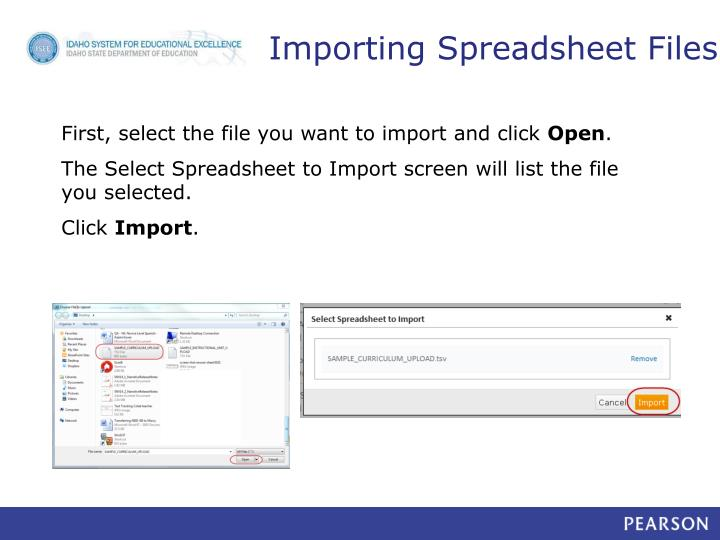 Importing Spreadsheet Files