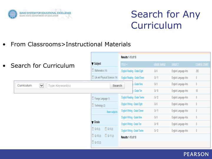 Search for Any Curriculum