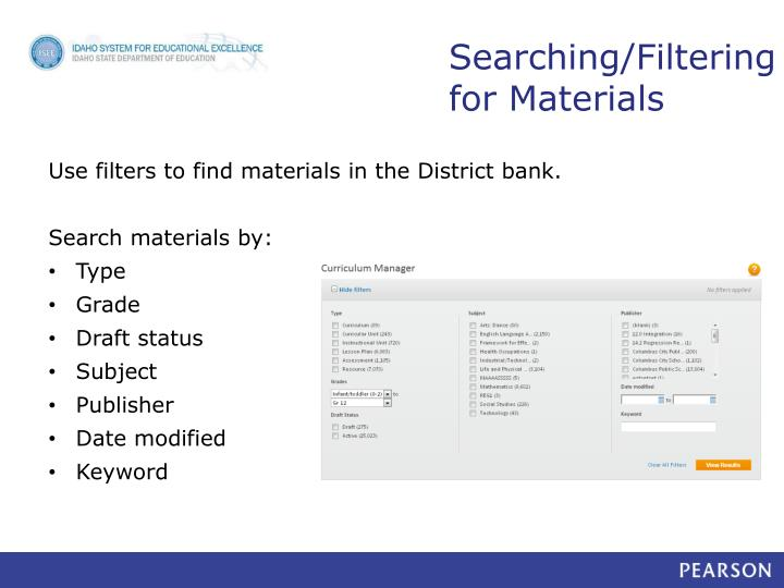 Searching/Filtering for Materials