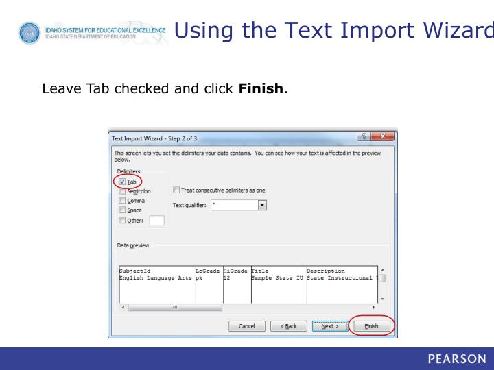 Using the Text Import Wizard