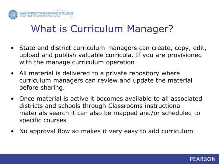 What is curriculum manager