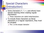 special characters introduction
