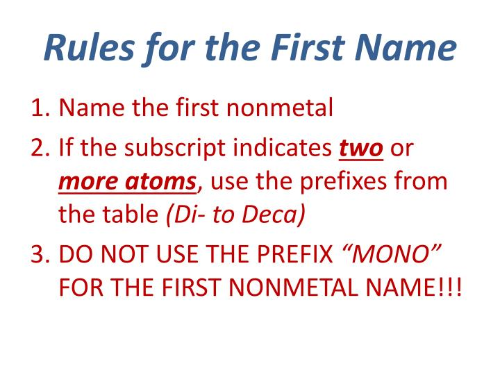 Rules for the First Name