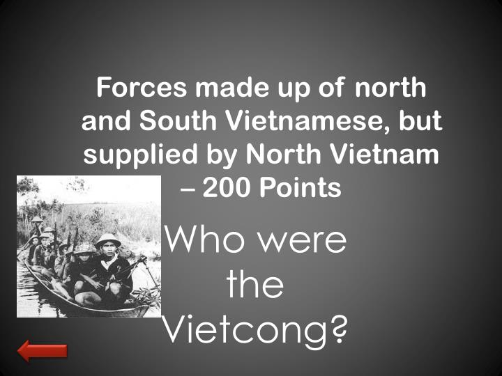 Forces made up of north and South Vietnamese, but supplied by North Vietnam – 200