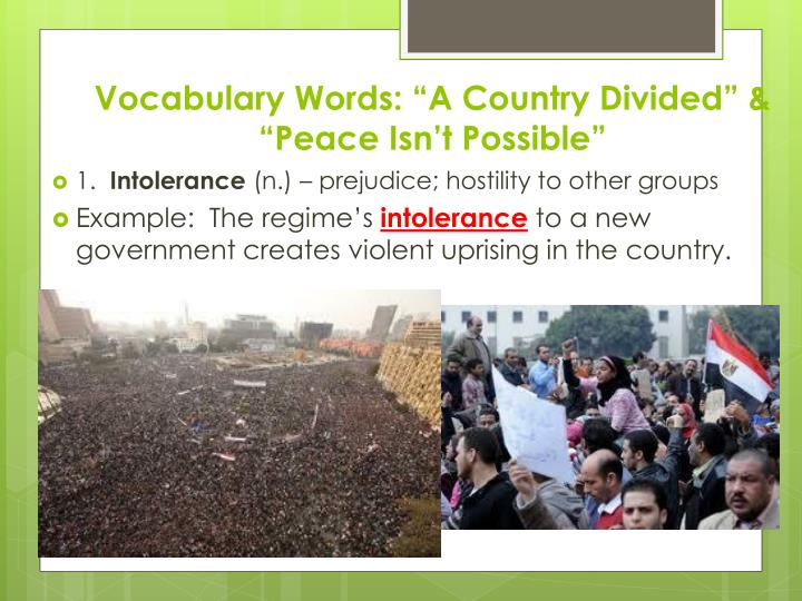 "Vocabulary Words: ""A Country Divided"" & ""Peace Isn't Possible"""