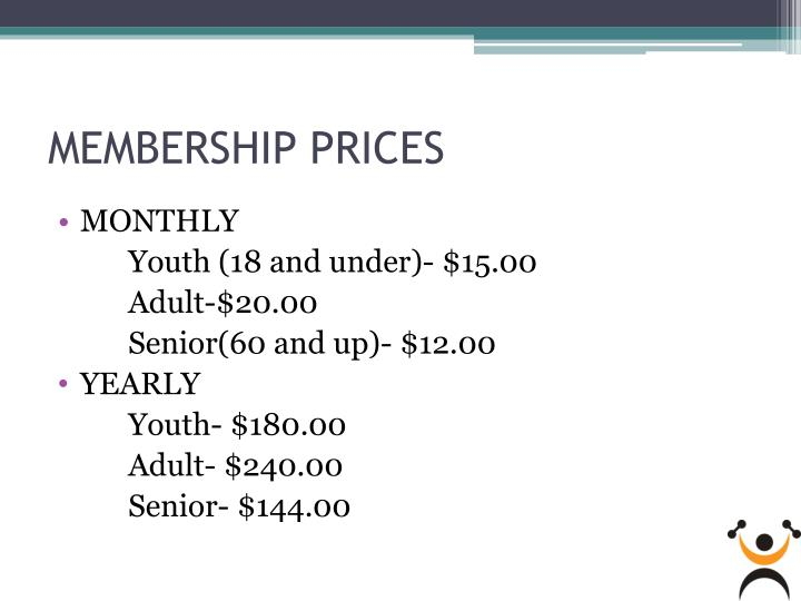 MEMBERSHIP PRICES