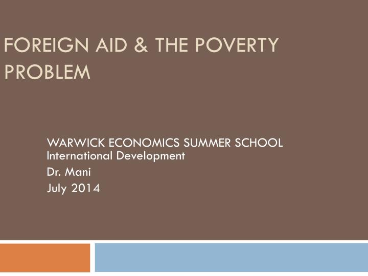 Foreign aid the poverty problem