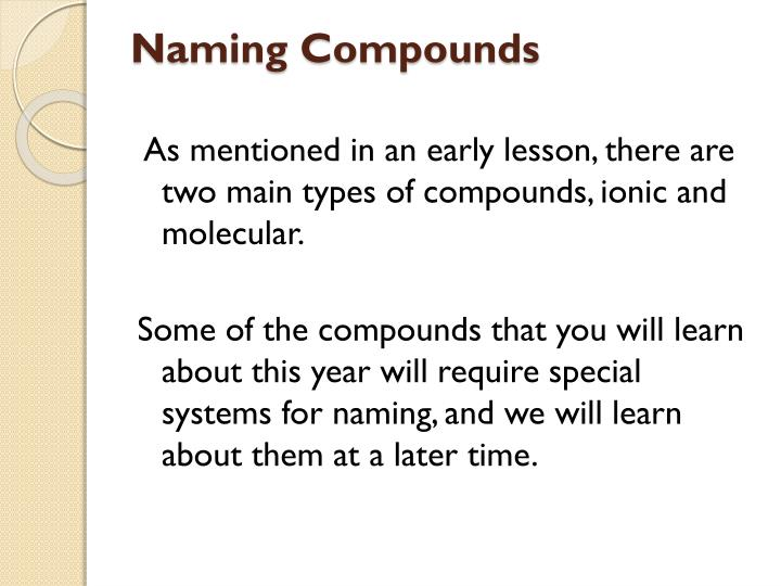 Naming compounds1