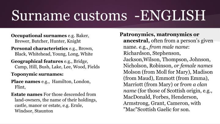Surname customs  -ENGLISH