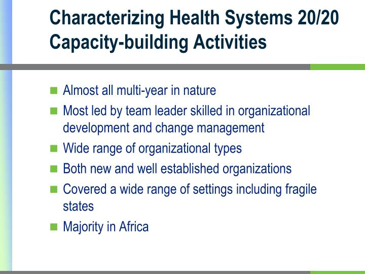 Characterizing Health Systems 20/20 Capacity-building Activities