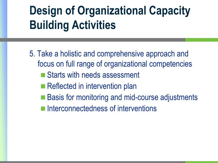 Design of Organizational Capacity Building Activities