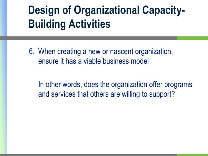 Design of Organizational Capacity-Building Activities