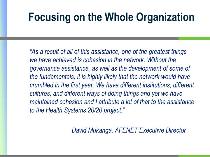 Focusing on the Whole Organization