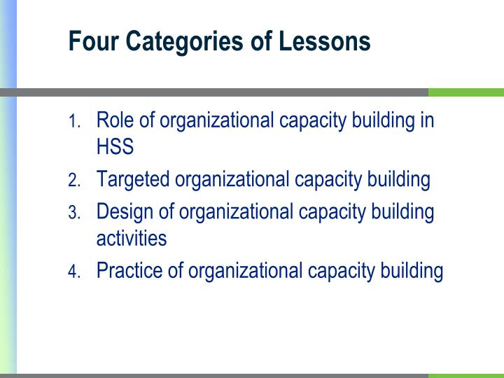 Four Categories of Lessons