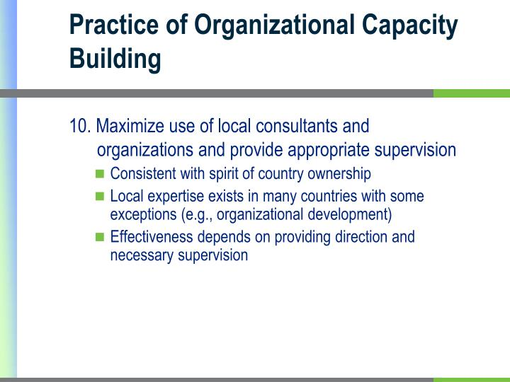 Practice of Organizational Capacity Building