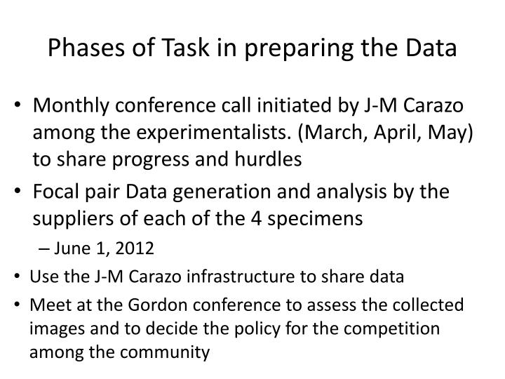 Phases of Task in preparing the Data