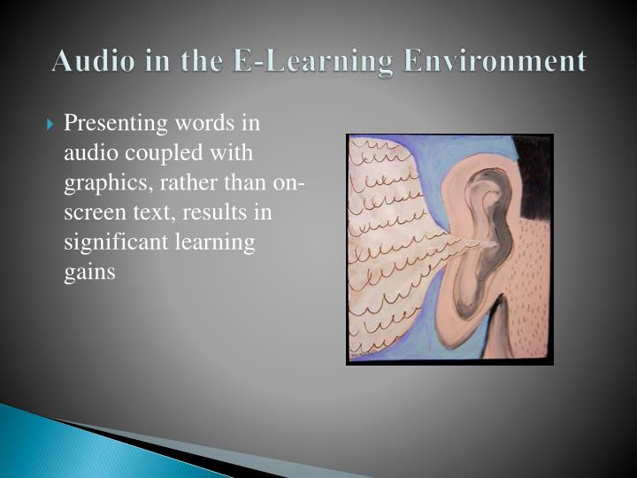 Audio in the e learning environment