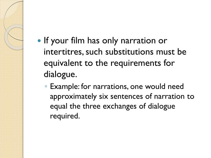 If your film has only narration or