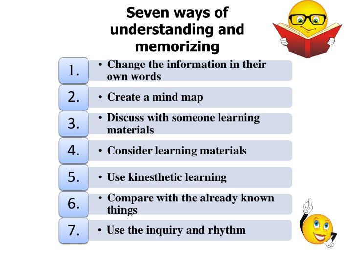 Seven ways of understanding and memorizing