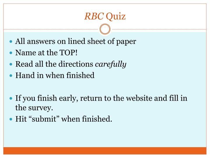 Rbc quiz