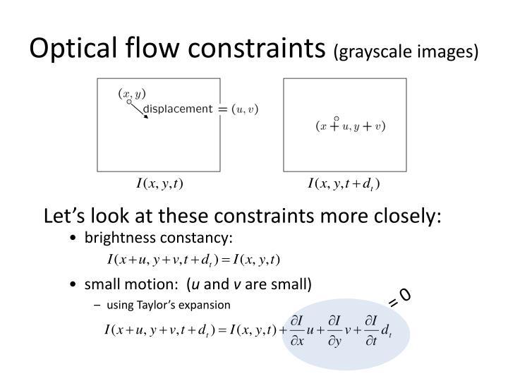 Optical flow constraints
