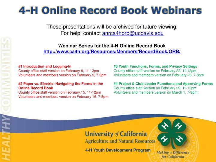 4-H Online Record Book Webinars