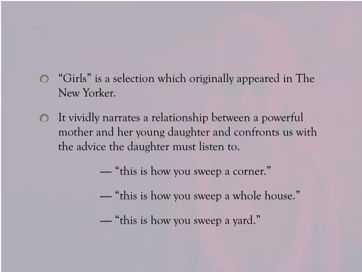 """Girls"" is a selection which originally appeared in The New Yorker."