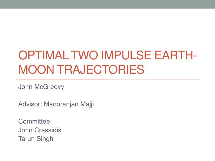 Optimal two impulse earth moon trajectories