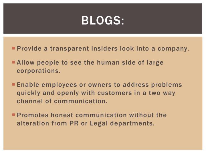 Blogs: