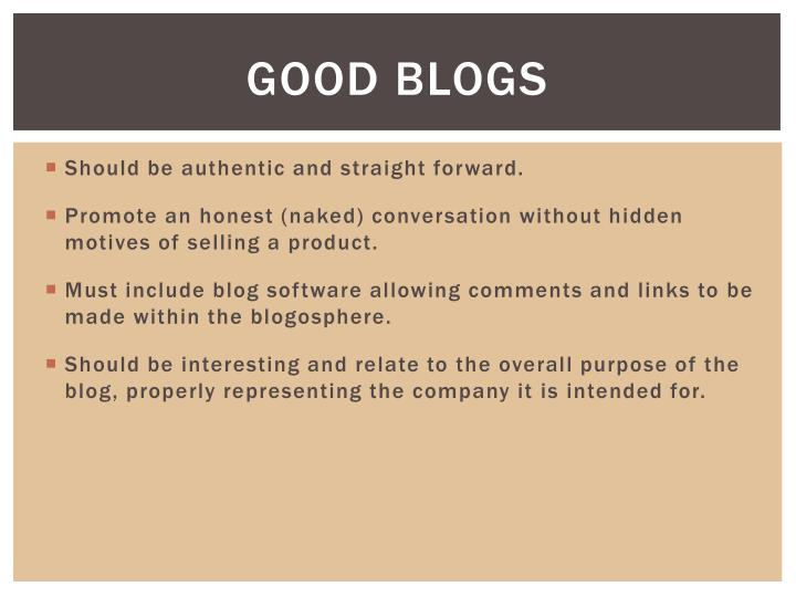 Good Blogs