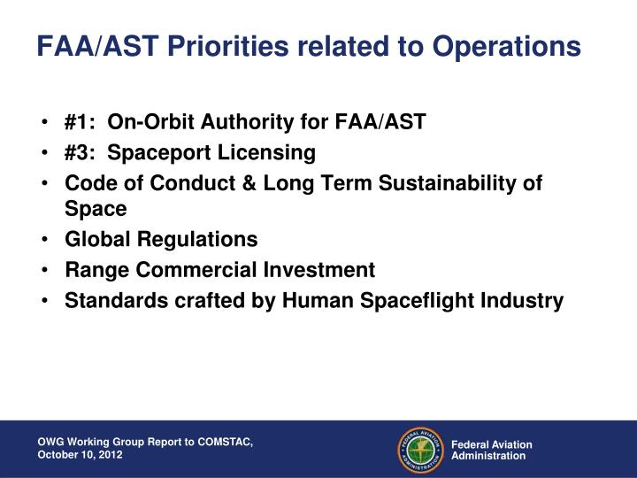 Faa ast priorities related to operations