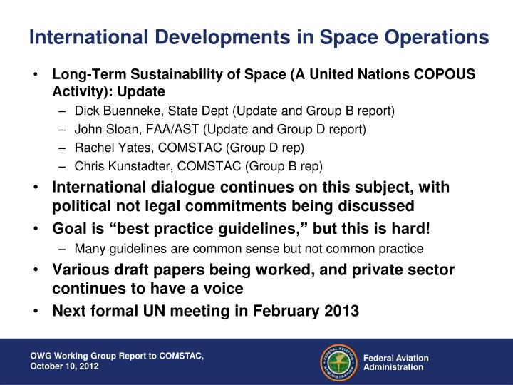 International Developments in Space Operations