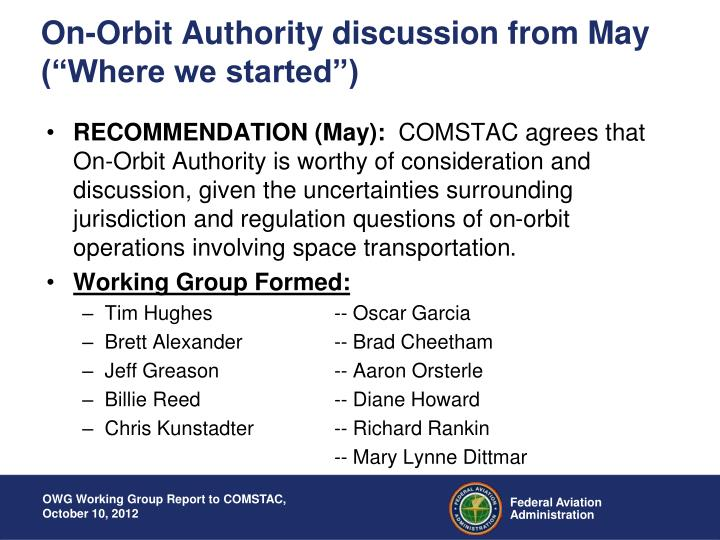 """On-Orbit Authority discussion from May (""""Where we started"""")"""