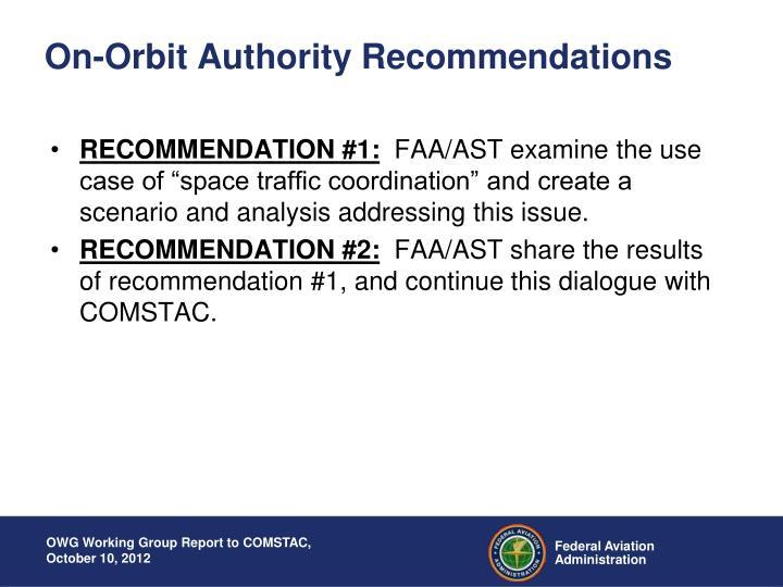On-Orbit Authority Recommendations