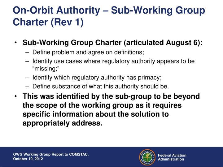 On-Orbit Authority – Sub-Working Group Charter (Rev 1)