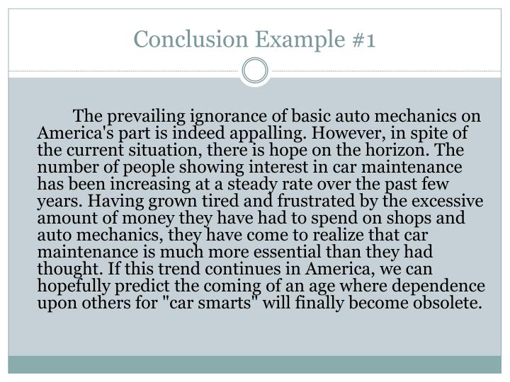 Conclusion Example #1