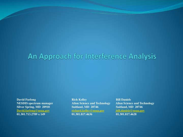 An approach for interference analysis