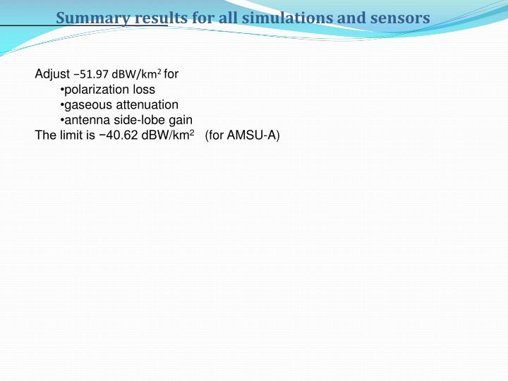 Summary results for all simulations and sensors