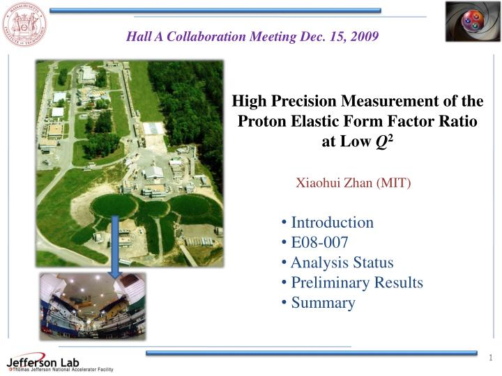 high precision measurement of the proton elastic form factor ratio at low q 2 n.