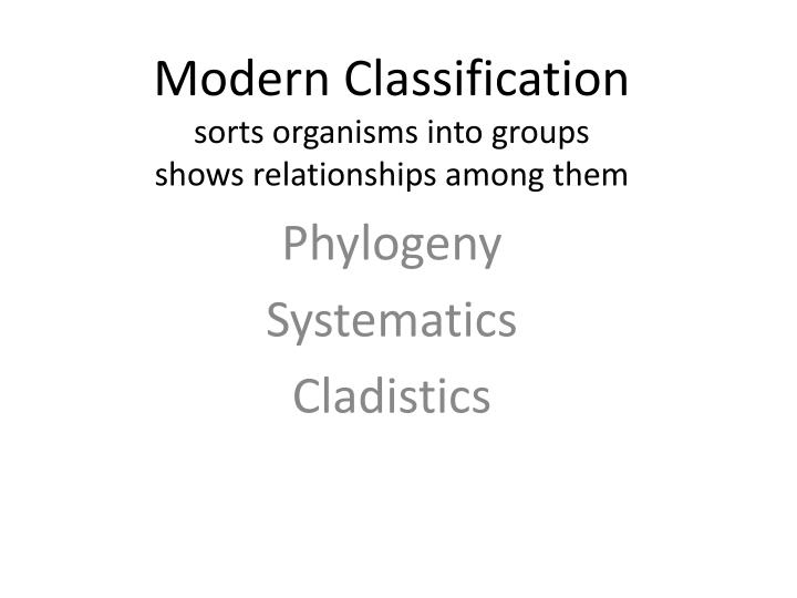 modern classification sorts organisms into groups shows relationships among them n.