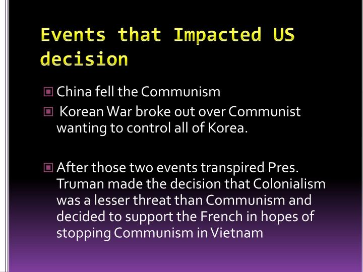 Events that Impacted US decision