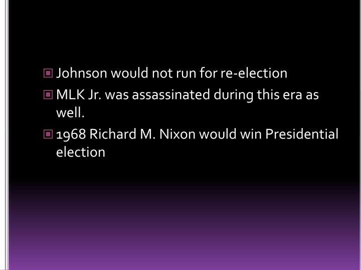 Johnson would not run for re-election
